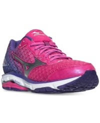 Mizuno Women's Wave Rider 19 Running Sneakers From Finish Line Fuchsia Purple Silver Roy
