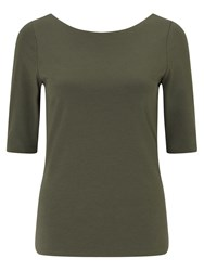 Jigsaw Double Front Ballet Neck Tee Green