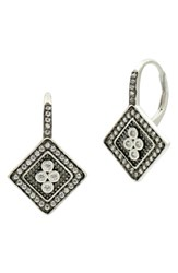 Freida Rothman Women's Industrial Finish Crystal Drop Earrings Black Silver