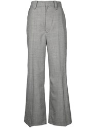 G.V.G.V. Wide Leg Tailored Trousers Polyester Polyurethane Rayon Wool Black