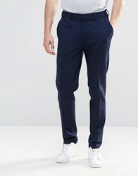 Asos Super Skinny Trouser In Navy Jersey With Turn Up Navy