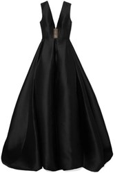 Alex Perry Axel Tulle Trimmed Pleated Duchesse Silk Satin Gown Black