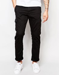 Ringspun Slim Fit Cargo Trousers Black