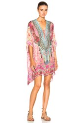 Camilla Short Lace Up Caftan In Pink Floral Abstract