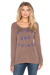 Sundry Rise And Shine Long Sleeve Raglan Tee Brown
