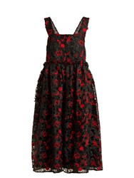 Shrimps Lucia Floral Guipure Lace Midi Dress Black Red
