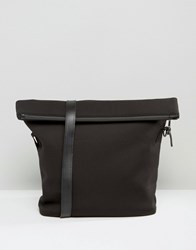 Asos Satchel In Scuba With Fold Top Black