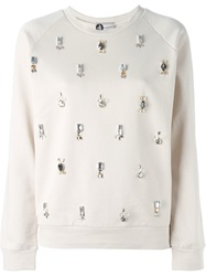 Lanvin Embellished Sweatshirt Nude And Neutrals