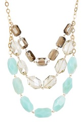 Madison Parker Triple Row Oblong Beaded Necklace Metallic