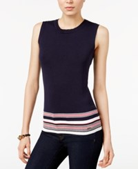Tommy Hilfiger Striped Hem Sweater Only At Macy's Midnight