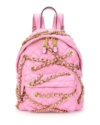 Chains Quilted Leather Backpack Pink Moschino
