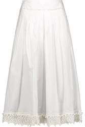 Derek Lam 10 Crosby By Pleated Lace Trimmed Cotton Midi Skirt Off White