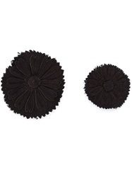 Ann Demeulemeester Set Of Two Flower Pins Black