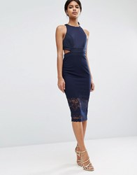 Asos Scuba Cutout Back Lace Pencil Midi Dress Navy