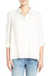Junior Women's Lush 'Perfect' High Low Shirt Ivory