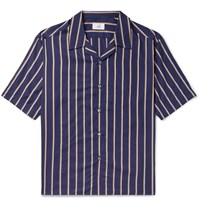 Dunhill Camp Collar Striped Lyocell And Cotton Blend Shirt Blue
