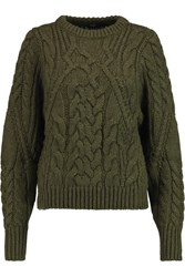 Maje Kalimnos Cable Knit Sweater Green