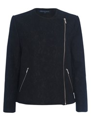 French Connection Delunay Lace Stretch Biker Jacket Black