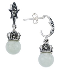 Lord And Taylor Sterling Silver Crown Drop Earrings Green Silver