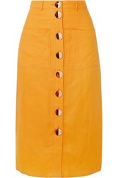 Nicholas Button Embellished Linen Midi Skirt Orange