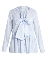 Osman Ciara Asymmetric Peplum Hem Cotton Shirt Light Blue