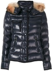 Moncler Armoise Jacket Feather Down Polyamide Racoon Fur Blue