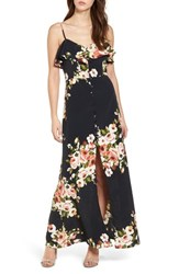 Band Of Gypsies Floral Maxi Dress Black Coral