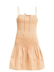 Solid And Striped Smocked Cotton Poplin Dress Tan