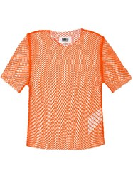 Maison Martin Margiela Mm6 Fishnet T Shirt Yellow Orange