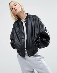 Asos Faux Leather Jacket With 80S Styling Black