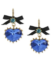 Betsey Johnson Gold Tone Blue Crystal Heart Drop Earrings