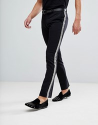 Noose And Monkey Super Skinny Trouser With Stud Side Stripe Black