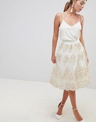 Chi Chi London Midi Skirt In Premium Lace Cream Gold