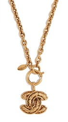 Wgaca What Goes Around Comes Around Chanel Quilted Necklace Gold