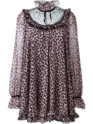 Giamba Bow Print Tunic Dress Pink And Purple