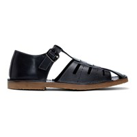Christophe Lemaire Black Fisherman Sandals