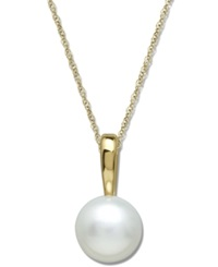 Macy's Cultured Freshwater Pearl Pendant Necklace In 14K Gold 6Mm