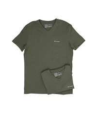 Columbia Performance Cotton V Neck T Shirt 2 Pack Dusty Olive Men's Underwear