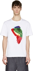 Msgm White Painted Parrot Wing Toilet Paper Edition T Shirt