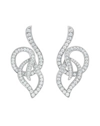 Carelle 18K White Gold Pave Diamond Leaf Circle Drop Earrings