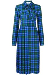 Msgm Plaid Pleated Dress Blue