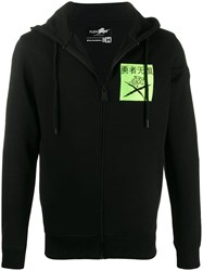 Plein Sport Embroidered Hoodie With Print Detail Black
