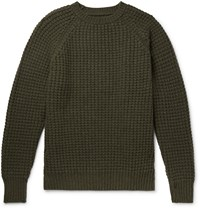 Kingsman Waffle Knit Wool And Cashmere Blend Sweater Green