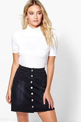 Boohoo Short Sleeve Turtle Neck Top Ivory