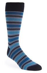 Men's Bugatchi Stripe Socks Green Aqua