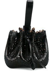 Alaia Laser Cut Wrist Bag Black