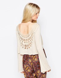 Kiss The Sky Back To The World Top With Crochet Panel Cream