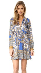 Free People Say You Love Me Mini Dress Blue Combo