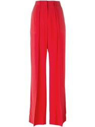 Msgm Pleated High Waisted Trousers Red