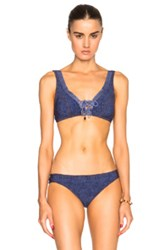 Karla Colletto Denim Crop Bikini Top In Blue